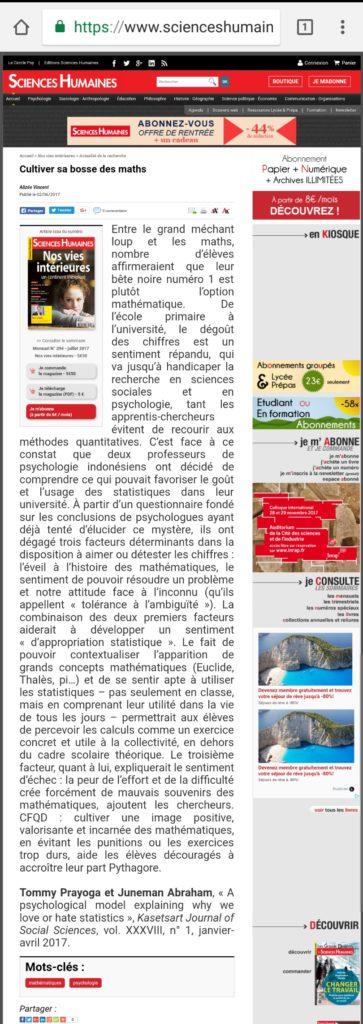 Tommy Prayoga dan Juneman Abraham di Majalah Sains Perancis